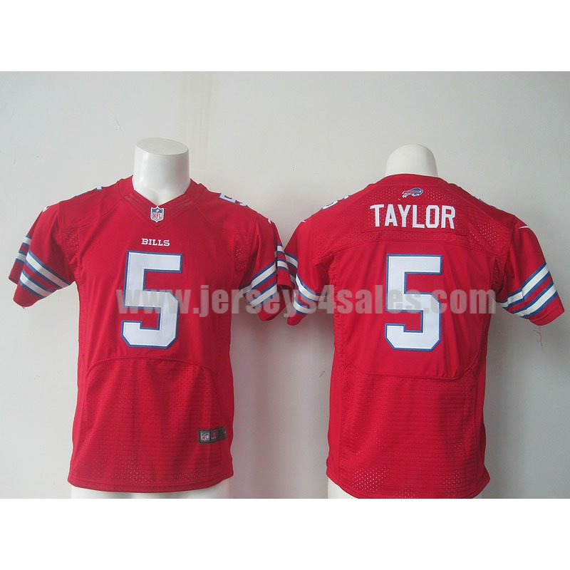 Youth Buffalo Bills #5 Tyrod Taylor Red Stitched Nike NFL Color Rush Limited Jersey
