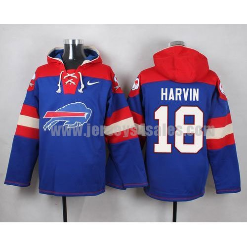 Men's Buffalo Bills #18 Percy Harvin Big Log Print Lace-Up NFL Hoodie - Royal Blue