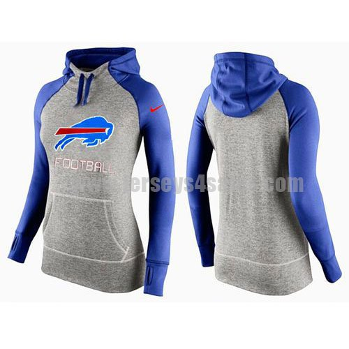 Women's Buffalo Bills Grey/Royal Blue All Time Performance NFL Hoodie