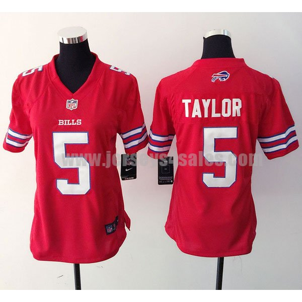 Women's Buffalo Bills #5 Tyrod Taylor Red Stitched Nike NFL Color Rush Limited Jersey