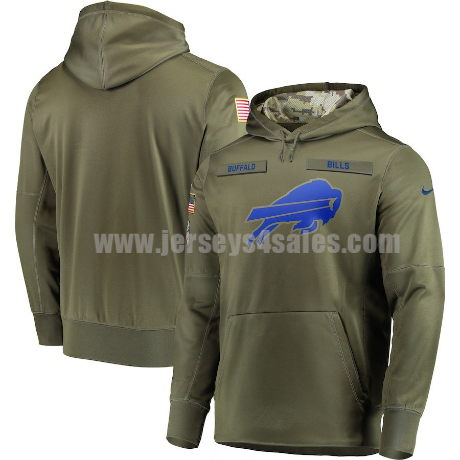 Men's Buffalo Bills Nike Olive Salute to Service Sideline Therma Performance Pullover Hoodie