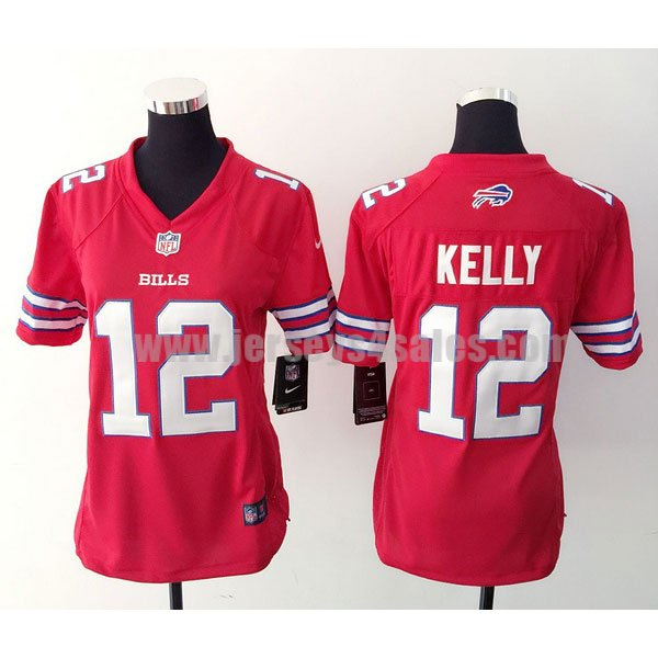 Women's Buffalo Bills #12 Jim Kelly Red Stitched Nike NFL Color Rush Limited Jersey