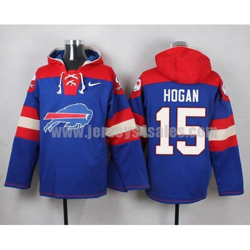 Men's Buffalo Bills #15 Chris Hogan Big Log Print Lace-Up NFL Hoodie - Royal Blue