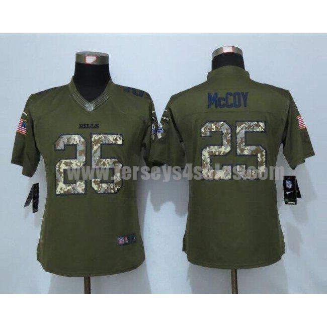 Women's Buffalo Bills #25 LeSean McCoy Green Stitched Nike NFL Salute To Service Limited Jersey