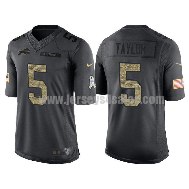 Men's Buffalo Bills #5 Tyrod Taylor Anthracite Stitched Nike NFL Salute To Service Limited Jersey