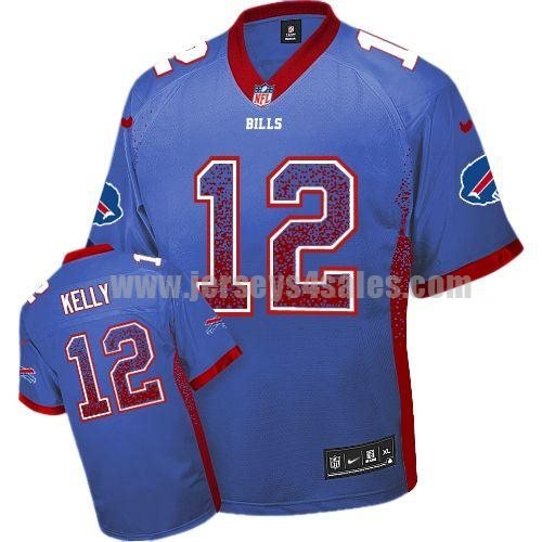 Nike Bills #12 Jim Kelly Royal Blue Team Color Men's Stitched NFL Elite Drift Fashion Jersey
