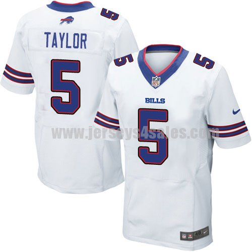 Men's Buffalo Bills #5 Tyrod Taylor White Stitched Nike NFL Road Elite Jersey