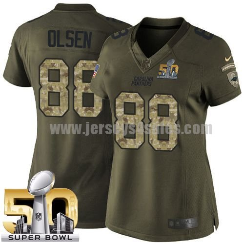 Women's Carolina Panthers #88 Greg Olsen Green Stitched Super Bowl 50 Nike NFL Salute To Service Limited Jersey