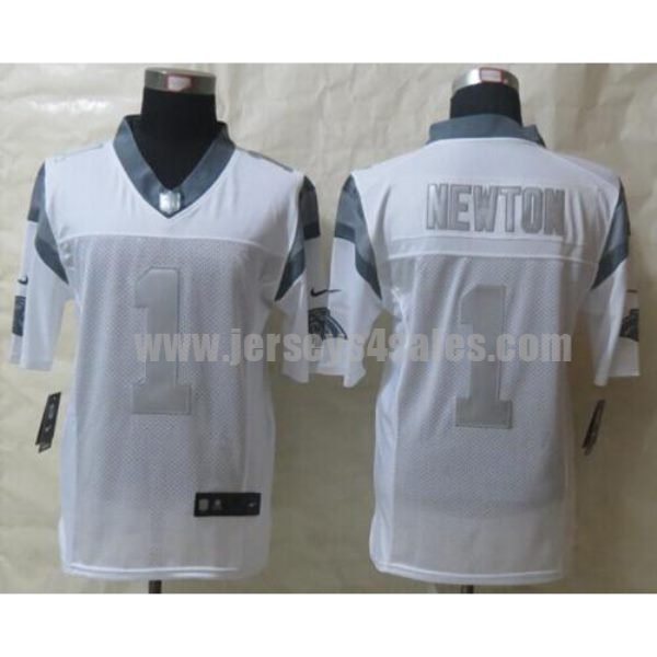Nike Panthers #1 Cam Newton White Men's Stitched NFL Limited Platinum Jersey