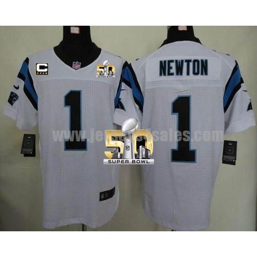 Men's Carolina Panthers #1 Cam Newton White Stitched Super Bowl 50 Nike NFL Road C Patch Elite Jersey