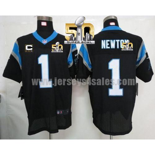 Men's Carolina Panthers #1 Cam Newton Black Stitched Super Bowl 50 Nike NFL Home C Patch Elite Jersey