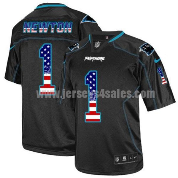 Nike Panthers #1 Cam Newton Black Men's Stitched NFL Elite USA Flag Fashion Jersey