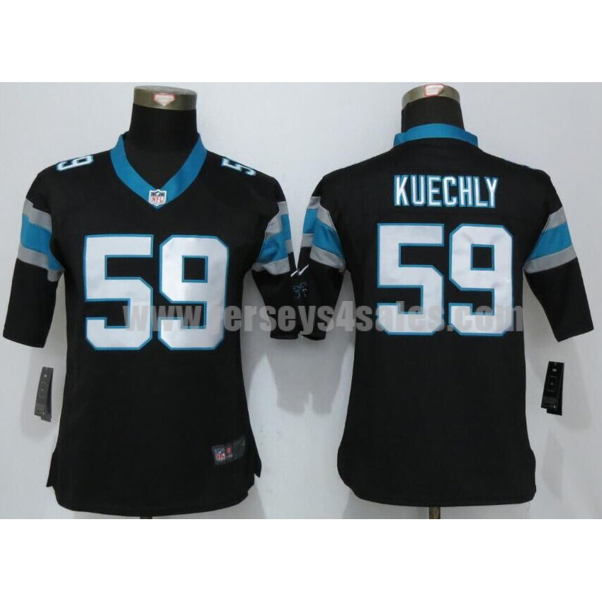 Women's Carolina Panthers #59 Luke Kuechly Black Stitched Nike NFL Home Elite Jersey