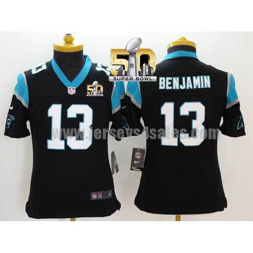 Youth Carolina Panthers #13 Kelvin Benjamin Black Stitched Super Bowl 50 Nike NFL Home Elite Jersey