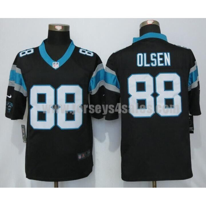 Men's Carolina Panthers #88 Greg Olsen Black Stitched Nike NFL Home Limited Jersey