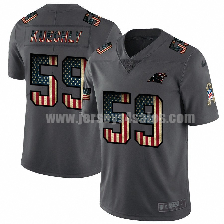 Men's Carolina Panthers #59 Luke Kuechly NFL Nike Pays Tribute To Retro Flag Carbon Black Limited Jerseys