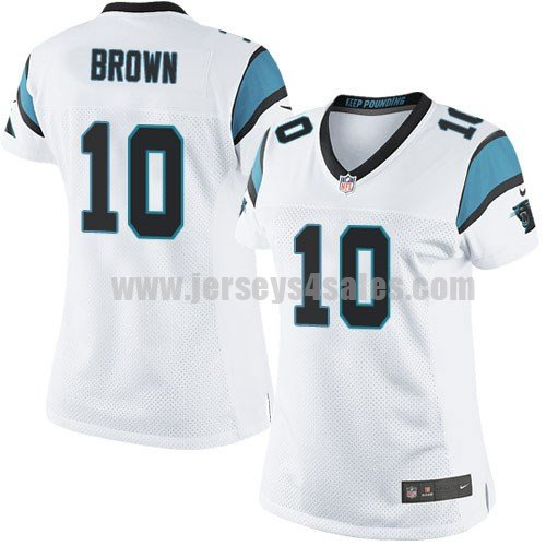 Women's Carolina Panthers #10 Philly Brown White Stitched Nike NFL Road Elite Jersey