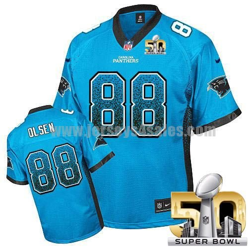 Youth Carolina Panthers #88 Greg Olsen Blue Stitched Super Bowl 50 Nike NFL Drift Fashion Elite Jersey