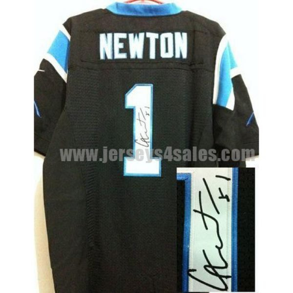 Nike Panthers #1 Cam Newton Black Team Color Men's Stitched NFL Elite Autographed Jersey