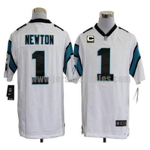 Nike Panthers #1 Cam Newton White With C Patch Men's Stitched NFL Game Jersey