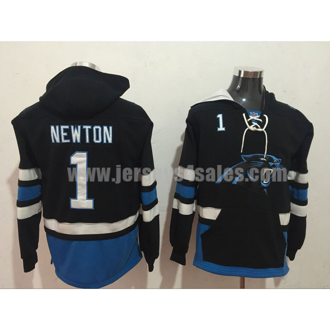Men's Carolina Panthers #1 Cam Newton Black Lacer Heavyweight Pullover NFL Hoodie