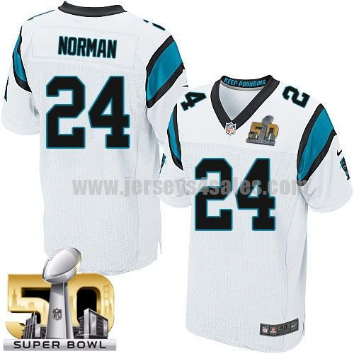 Men's Carolina Panthers #24 Josh Norman White Stitched Super Bowl 50 Nike NFL Road Elite Jersey
