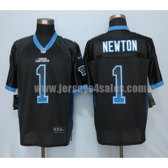 Men's Carolina Panthers #1 Cam Newton Black Stitched Nike NFL Drift Fashion Elite Jersey