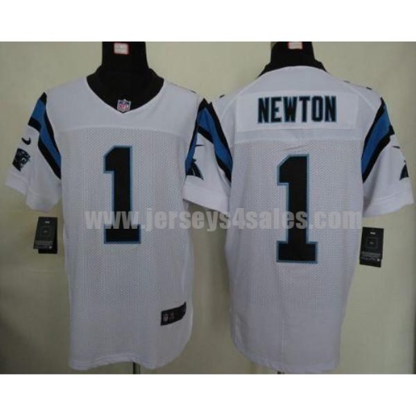Nike Panthers #1 Cam Newton White Men's Stitched NFL Elite Jersey