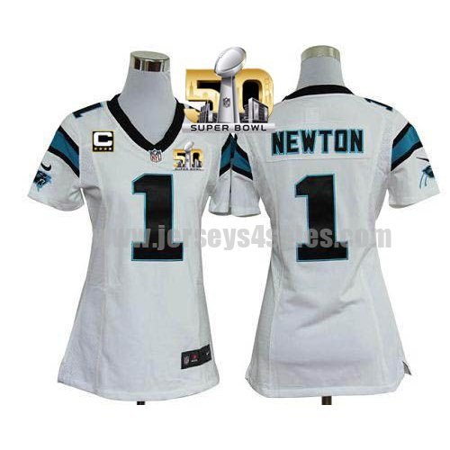 Women's Carolina Panthers #1 Cam Newton White Stitched Super Bowl 50 Nike NFL Road C Patch Elite Jersey