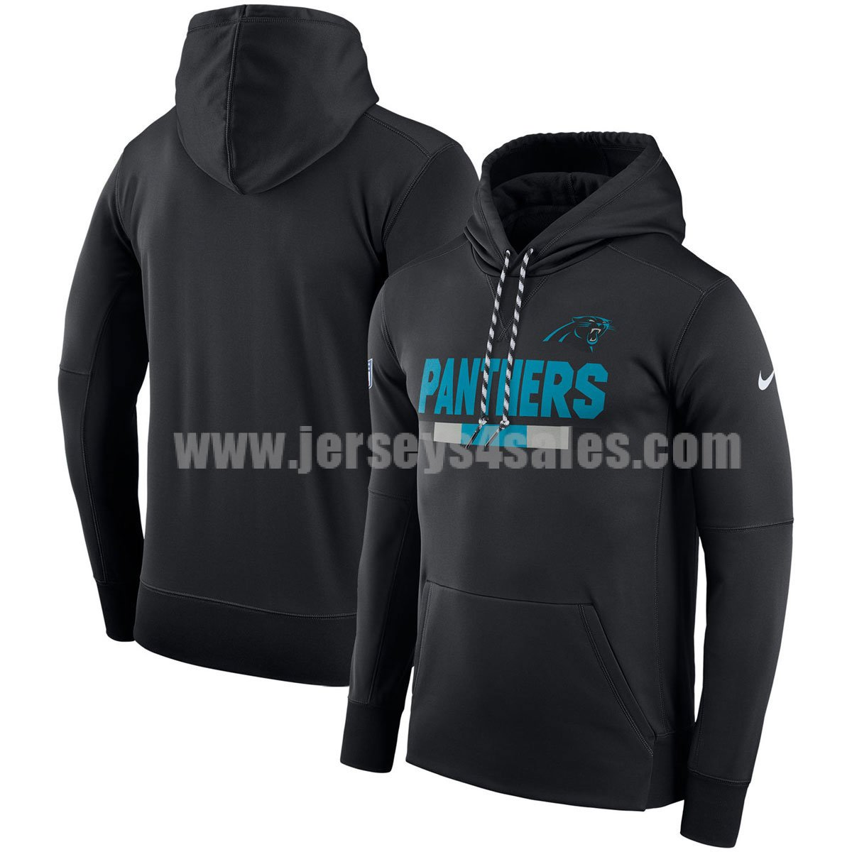Men's Carolina Panthers Black Nike Sideline Team Name Performance Pullover NFL Hoodie