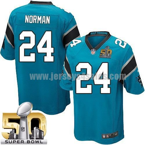 Youth Carolina Panthers #24 Josh Norman Blue Stitched Super Bowl 50 Nike NFL Alternate Elite Jersey