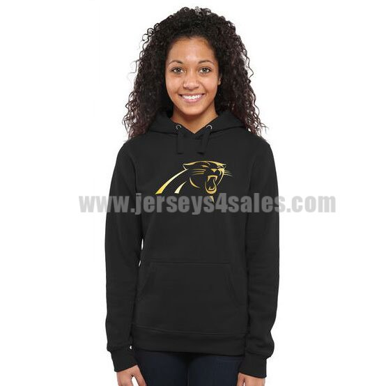 Women's Carolina Panthers Pro Line Black Gold Collection Pullover NFL Hoodie