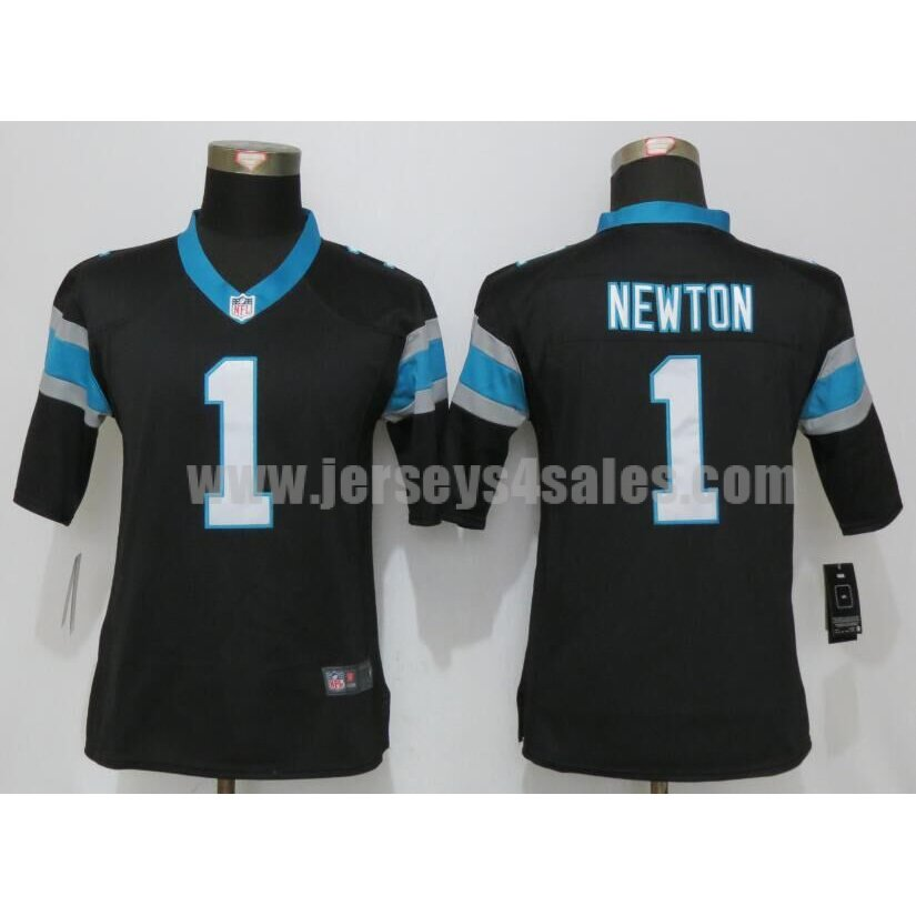 Women's Carolina Panthers #1 Cam Newton Black Stitched Nike NFL Home Elite Jersey