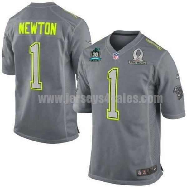 Nike Panthers #1 Cam Newton Grey Pro Bowl With 20TH Season Patch Men's Stitched NFL Elite Team Sanders Jersey