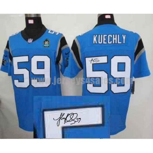 Nike Panthers #59 Luke Kuechly Blue Alternate With 20TH Season Patch Men's Stitched NFL Elite Autographed Jersey