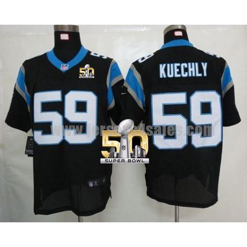Men's Carolina Panthers #59 Luke Kuechly Black Stitched Super Bowl 50 Nike NFL Home Elite Jersey
