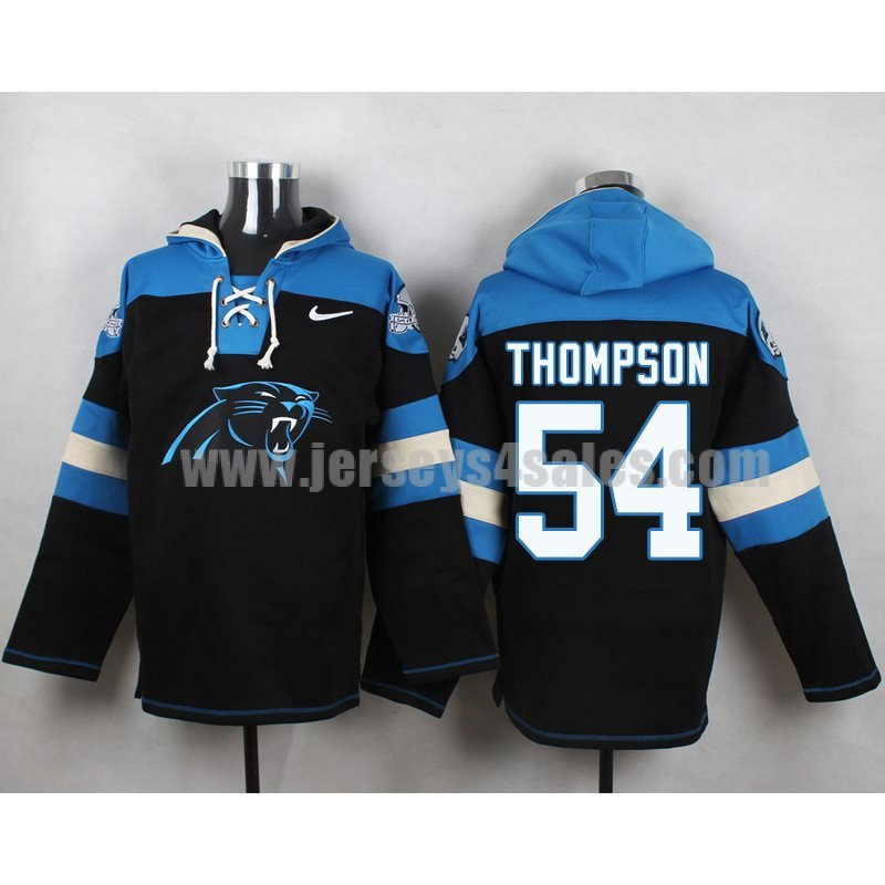 Men's Carolina Panthers #54 Shaq Thompson Big Logo Lace-Up NFL Hoodie - Black