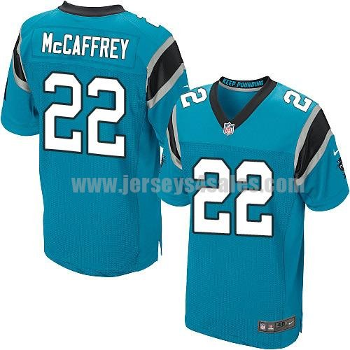 Men's Carolina Panthers #22 Christian McCaffrey Blue Nike NFL Elite Jersey