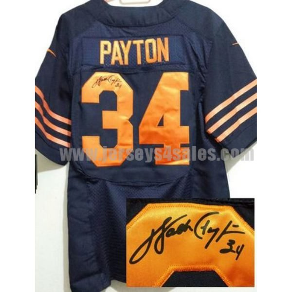 Nike Bears #34 Walter Payton Navy Blue Men's Stitched NFL 1940s Throwback Elite Autographed Jersey