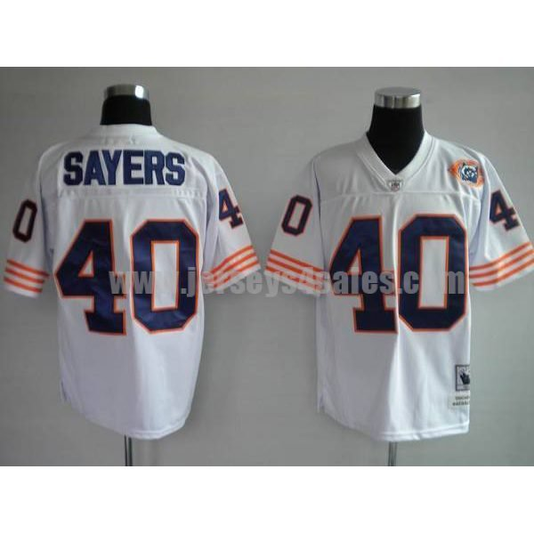 Mitchell & Ness Bears #40 Gale Sayers White With Big Number Bear Patch Stitched Throwback NFL Jersey