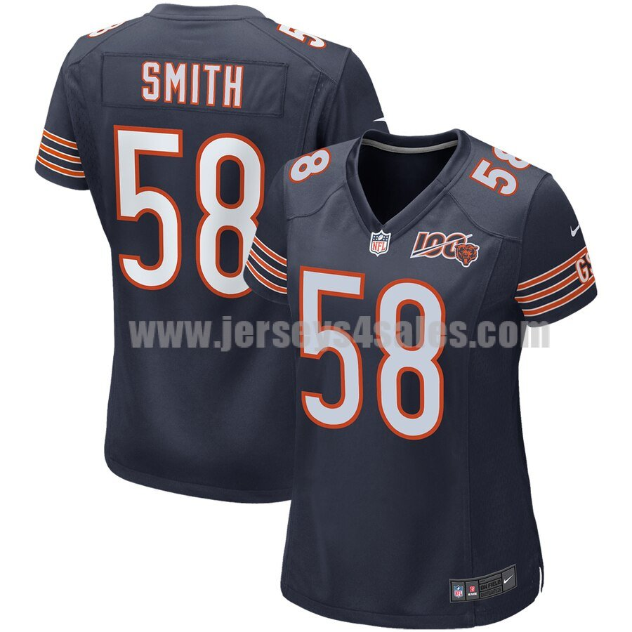 Men's Chicago Bears #58 Roquan Smith Nike Navy 100th Season Game Jersey