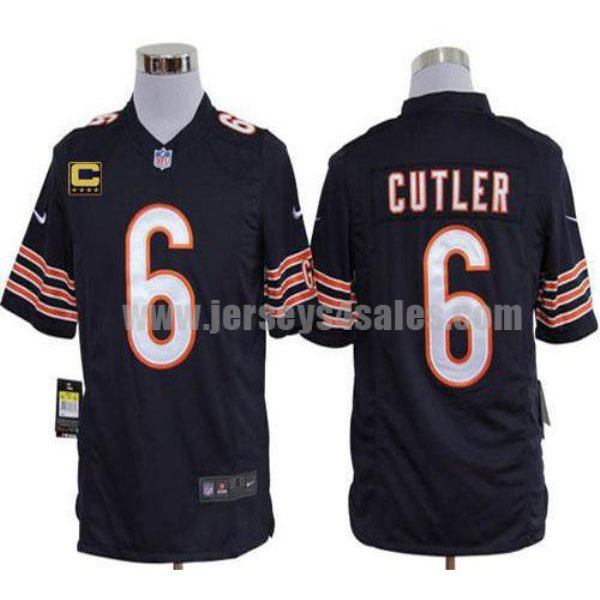 Nike Bears #6 Jay Cutler Navy Blue Team Color With C Patch Men's Stitched NFL Game Jersey