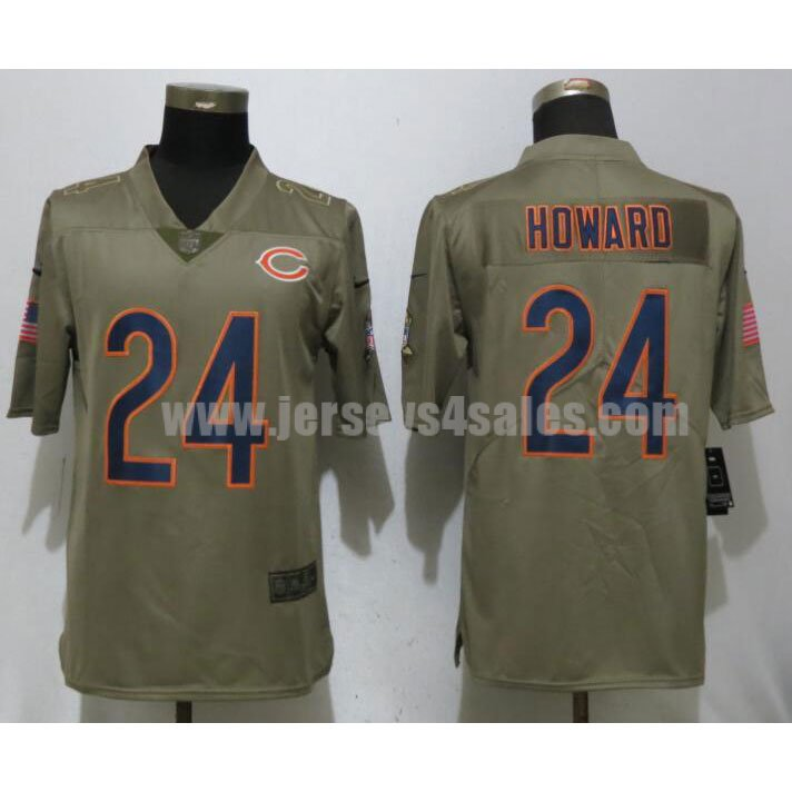 Men's Chicago Bears #24 Jordan Howard Olive Nike NFL 2017 Salute To Service Limited Jersey