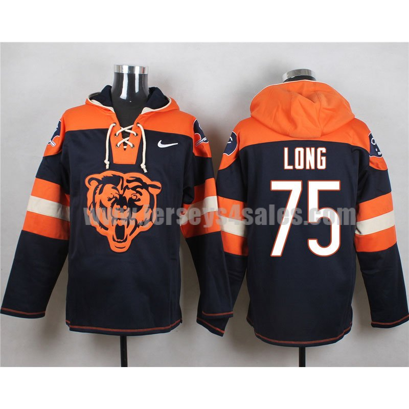 Men's Chicago Bears #75 Kyle Long Big Logo Lace-Up NFL Hoodie - Navy Blue