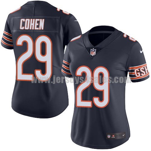 Women's Nike Chicago Bears #29 Tarik Cohen Navy Blue Team Color Stitched NFL Vapor Untouchable Limited Jersey