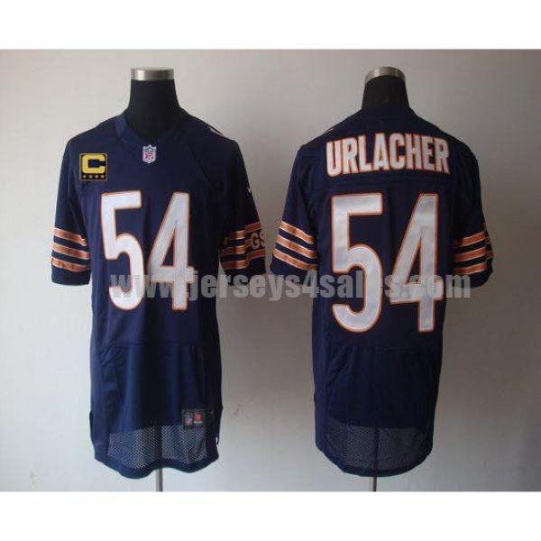 Nike Bears #54 Brian Urlacher Navy Blue Team Color With C Patch Men's Stitched NFL Elite Jersey