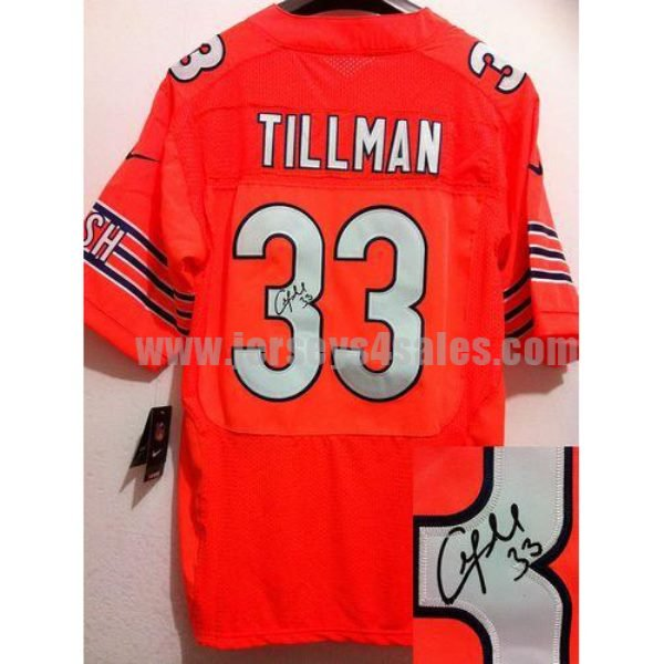 Nike Bears #33 Charles Tillman Orange Alternate Men's Stitched NFL Elite Autographed Jersey