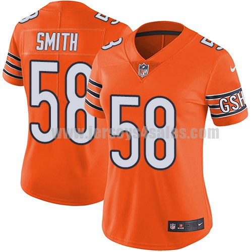 Women's Nike Chicago Bears #58 Roquan Smith Orange Stitched NFL Limited Rush Jersey