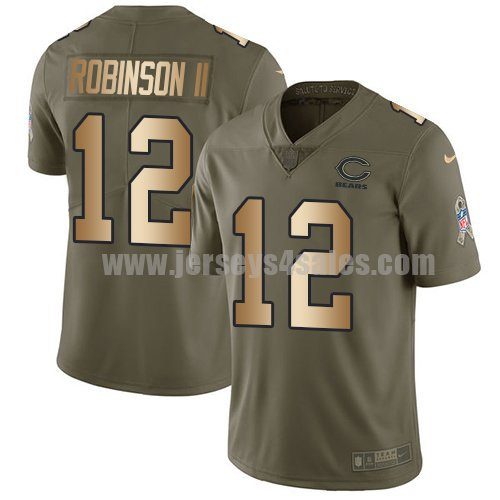 Youth Nike Chicago Bears #12 Allen Robinson II Olive/Gold Stitched NFL Limited 2017 Salute to Service Jersey