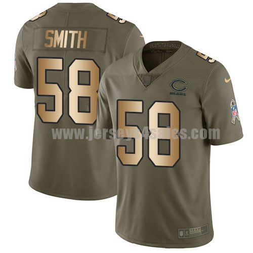 Men's Nike Chicago Bears #58 Roquan Smith Olive/Gold Stitched NFL Limited 2017 Salute To Service Jersey